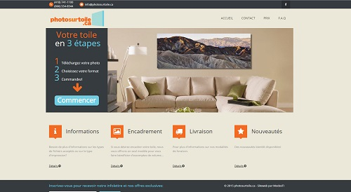 Site web de photo sur toile